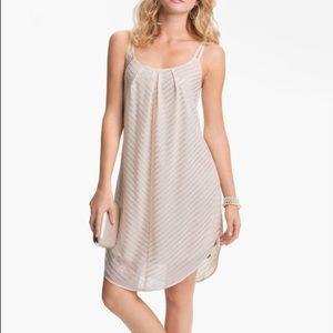 Mimi Chica Metallic Stripe on Cream Slip Dress